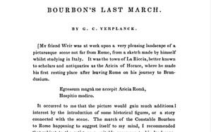 "Gulian C. Verplank's ""Bourbon's Last March"" 1835 and Robert Walter Weir painting"