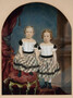 Image of painting by Emile L. Herzinger, Two Girls in Plaid, ND