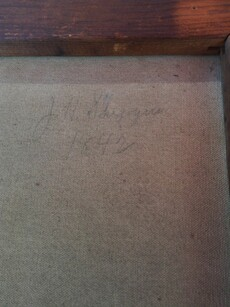 Image of portrait's signature and date (verso)